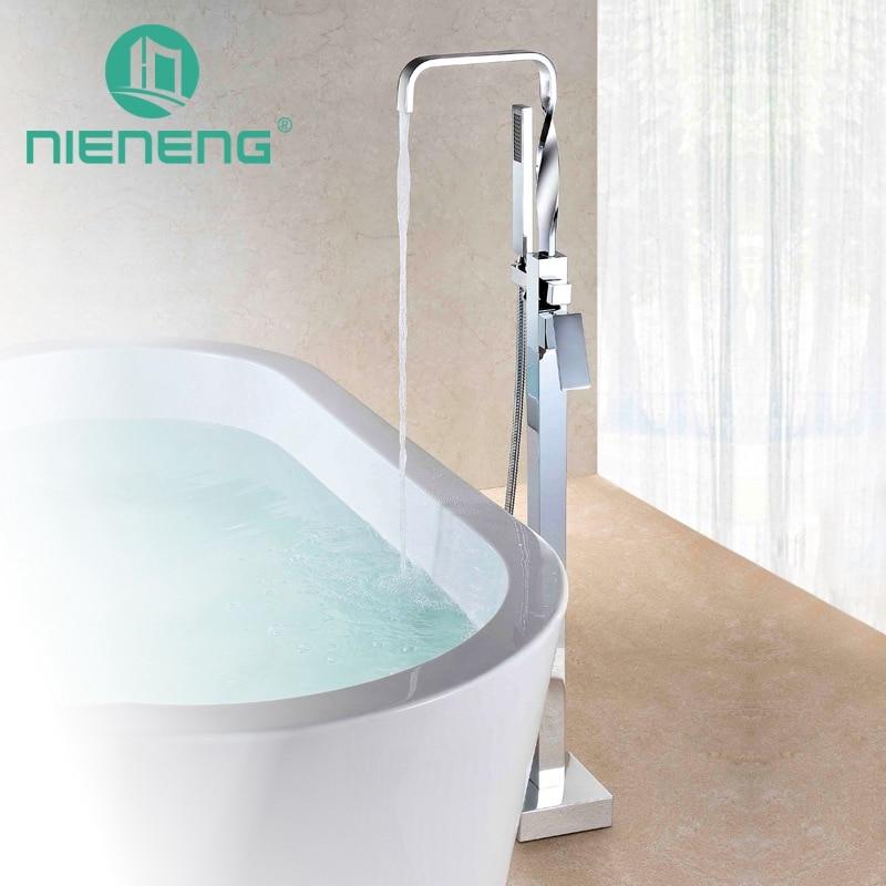 Nieneng Bathtub Faucet Cylinder Royal Bath Shower Freestanding Floor Mount Modern Tub Filler Faucet Shower Diverter ICD60646