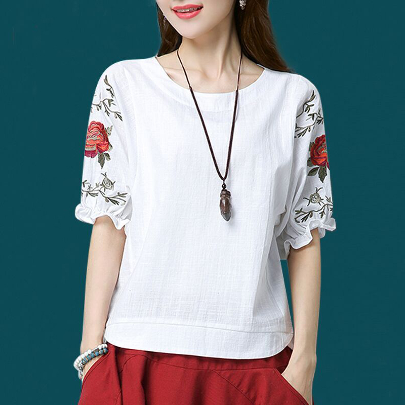 Blouse Plus Size Women Short Sleeve Puff Sleeve Top Ladies Cotton Linen Shirt Loose Casual Embroidery O Neck
