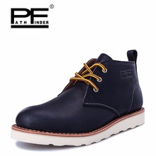Pathfinder Waterproof Men's Ankle Boots Warm Martin Boots for Man Fashion Snow Fur Boots Mens Shoes Western Motorcycle Boots