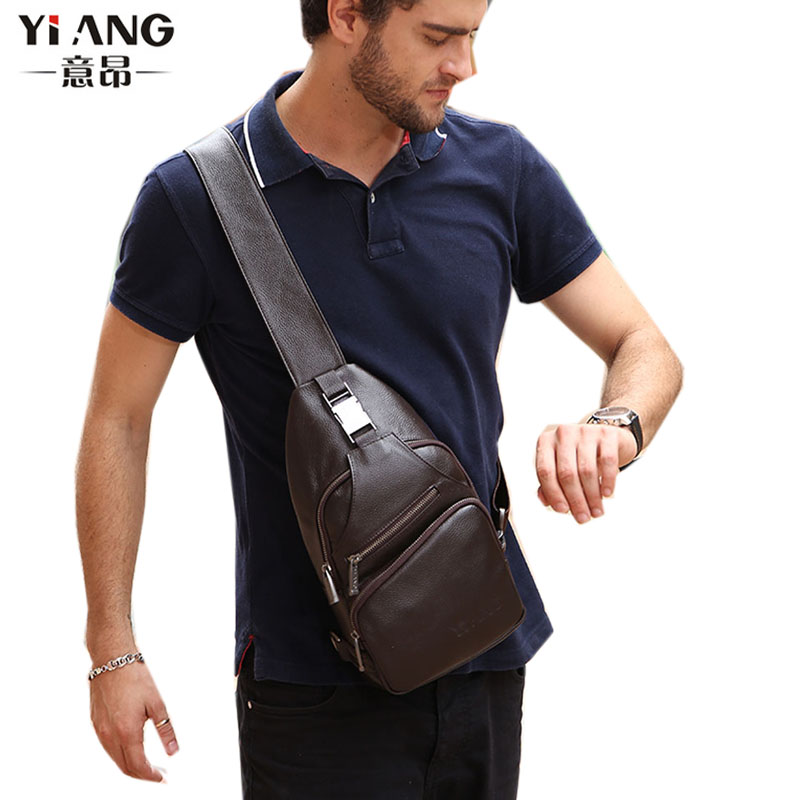 High Quality Men Genuine Leather Cowhide Messenger Shoulder Bag Cross Body Casual fashion Travel Sling Chest Pack casual canvas satchel men sling bag