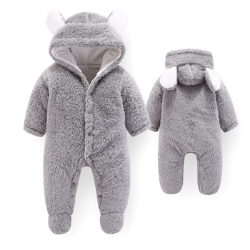 Baby Winter Overalls For Baby Girls Costume 2019 Autumn Newborn Clothes Baby Wool Rompers For Baby Boys Jumpsuit Infant Clothing 3