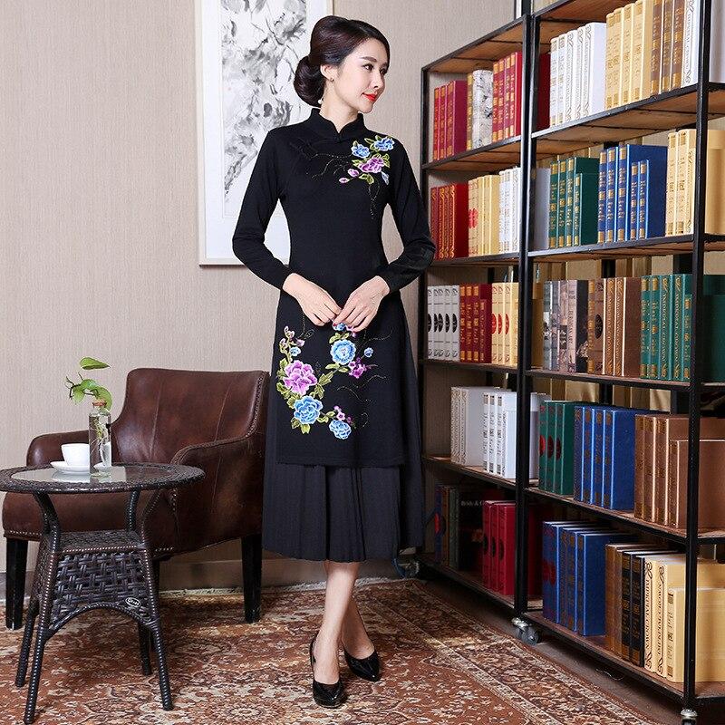 High Quality Chinese Women Wool Qipao Dress Vintage Embroidery Floral Vietnam Aodai Lady Elegant Cheongsam L-XXL