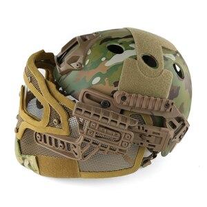 Image 3 - Airsoft Helm Paintball Full Face Militaire Beschermende Gezichtsmasker Tactische Camouflage Masker Volgelaatsmasker Snelle Helm Met Masker