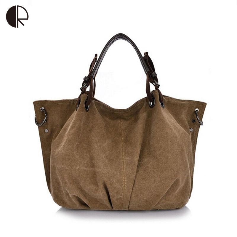 Bolsa De Lona E Couro Feminina : Bolsa feminina mulheres grandes engrosse lona sacos casual
