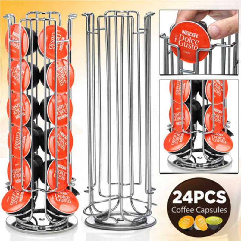 Free Shipping 24 Coffee Pod Holder Rotating Revolving Rack Tower Capsule Stand For Dolce Gusto