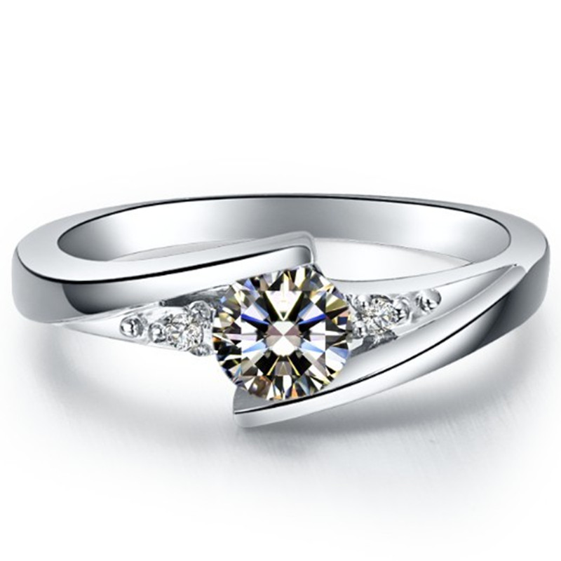 Stars Brilliant 1Ct Round Cut Synthetic Diamonds Ring Solid 925 Sterling Silver Ring White Gold Color