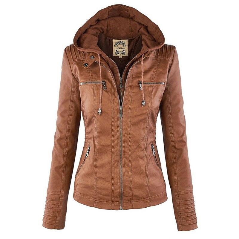 Gothic Faux Leather Jacket Women 2019 Khaki Winter Motorcycle Jacket Hoodies Outerwear Faux Leather PU Basic Jacket Coat