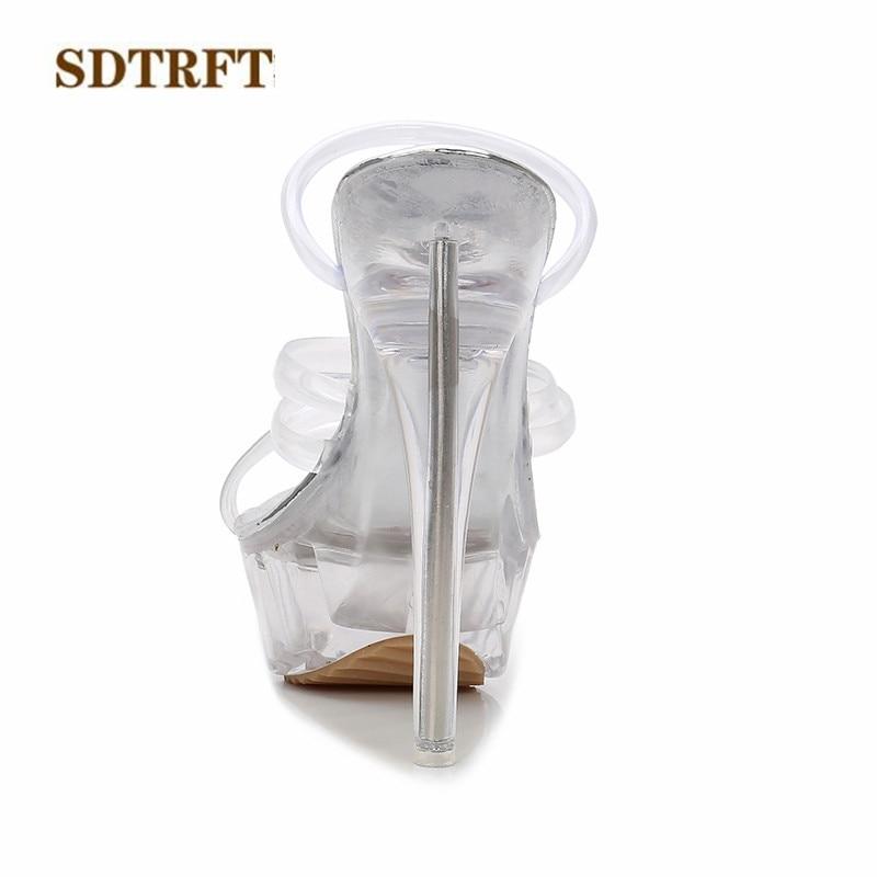 2b7a580d51a SDTRFT Fashion Narrow Band stilettos Crossdresser Sandals 14cm thin heels  transparent platforms shoes woman pumps US9 10 11 12-in High Heels from  Shoes on ...