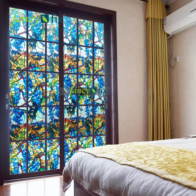 Fancy Fix Grape Stained Glass Window Film Privacy For