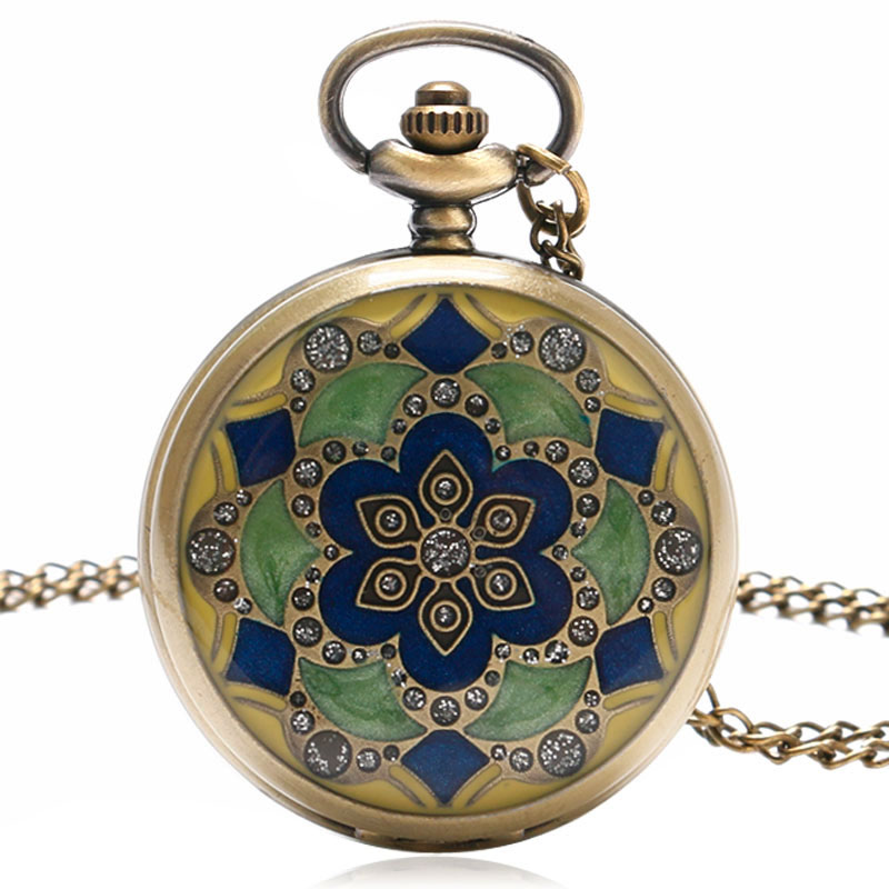 Старовинний зелений Jade кристал кварц великий кишеньковий годинник намисто підвіска ланцюжок чоловіча подарунок