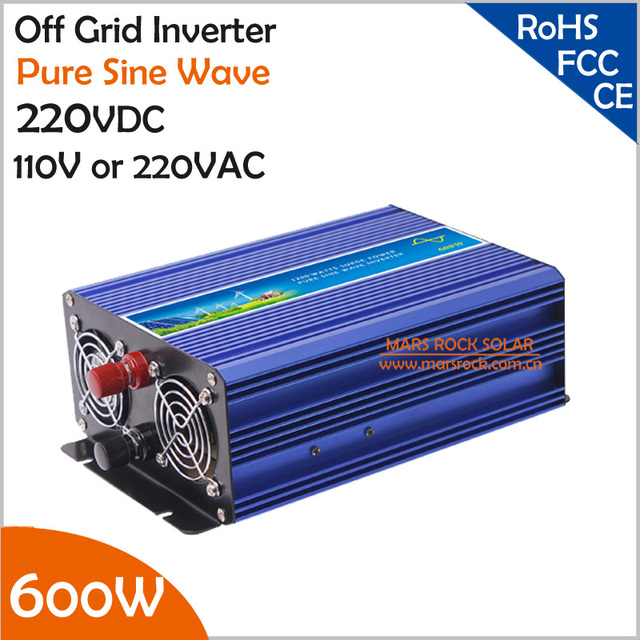 600W 220V DC to AC Off Grid Inverter, Pure Sine Wave Inverter for Solar or Wind Power System, Surge Power 1200W Power Inverter