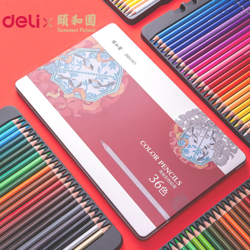 Deli 36/48/72 Colored Pencil Summer Palace Series Color Lead Set Student Children With Painting Graffiti Coloring Colored Pencil
