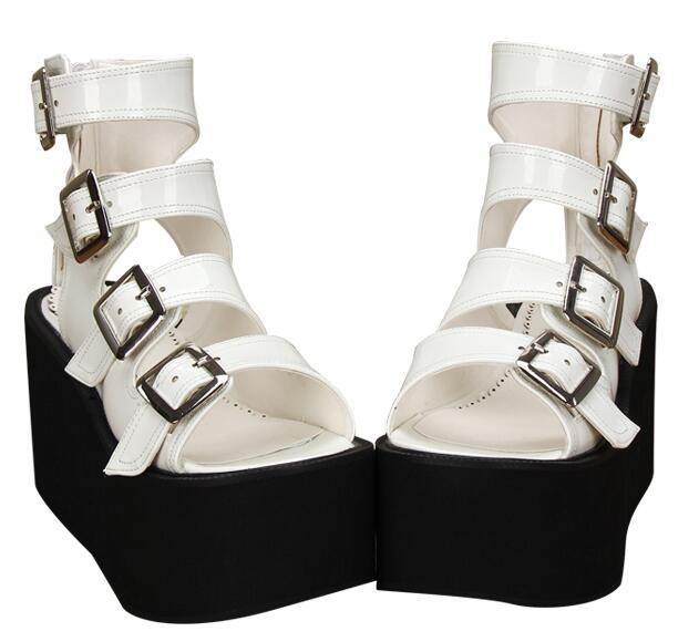 Angelic imprint 새로운 모리 소녀 로리타 신발 여자 코스프레 펑크 신발 레이디 하이힐 웨지 펌프 여성 드레스 파티 샌들 10 cm-에서하이힐부터 신발 의  그룹 2