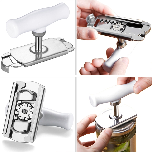 Adjustable Jar Opener Stainless Steel Lids off Jar Opener Bottle Opener Can Opener for 1-4 inches Kitchen Gadget 4