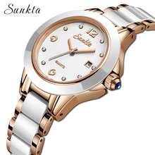 SUNKTA original brand Ladies Simulated-ceramics Bracelet quartz-Watch fashion casual watch women rose gold clock montre femme