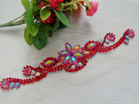 32 7cm Hand Made Red Crystal Patches Sew On Rhinestones Applique For Top Dress Skirt Belt