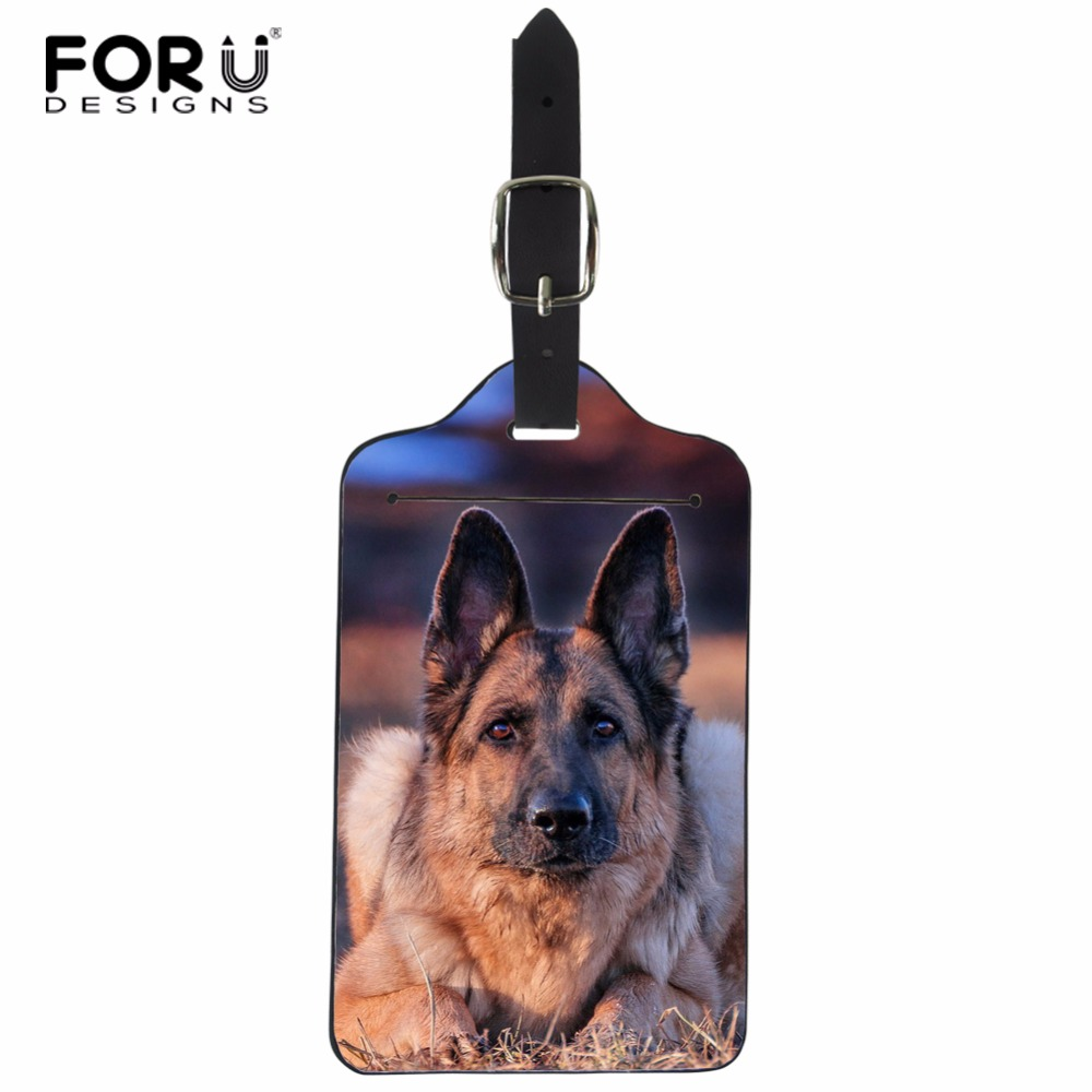 FORUDESIGNS New Suitcase Luggage Tags ID Address Holder PU Leather Identifier Label Tag German Shepherd Dog Suitcase Tag Card