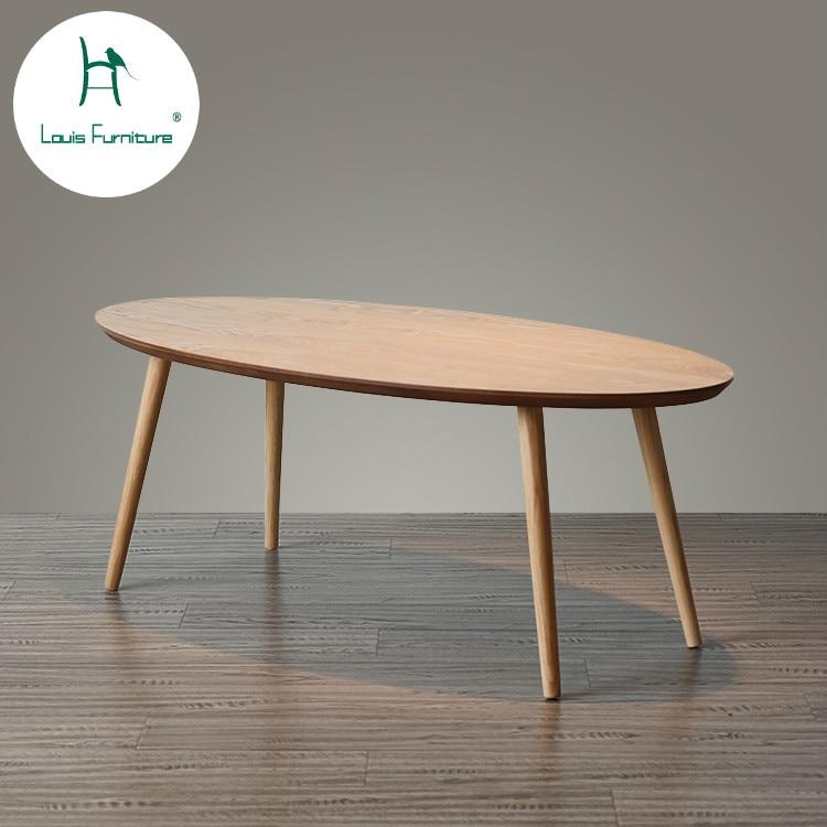Louis Fashion Coffee Tables Modern Minimalism Small Apartment Design Nordic Solid Tea Oval White Oak Living Room Sofa Coffee Tables Aliexpress