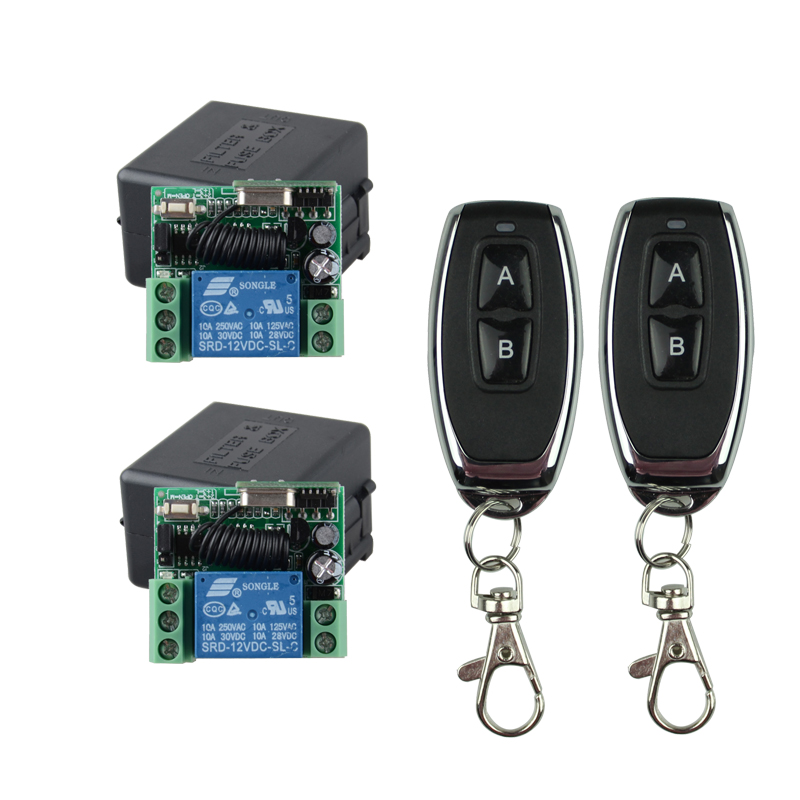 DC12V 1CH RF Wireless Remote Control Lighting Switch System 2 Transmitter 2 Receiver Smart Home Switch