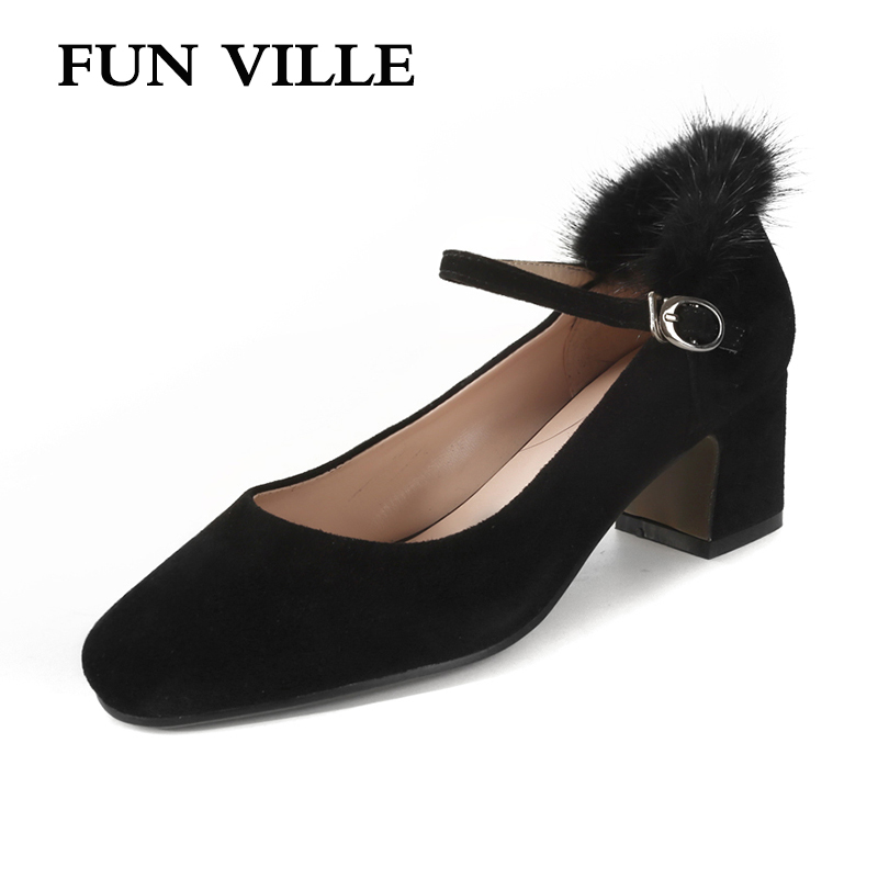 FUN VILLE 2018 Spring New Women Pumps kid suede Mary Janes High Heels Buckle Party shoes Round Toe Lady Shoes Plus Size 34-43 vallkin size 34 43 white buckle strap round toe women pump square high heels solid autumn spring lady party shoes