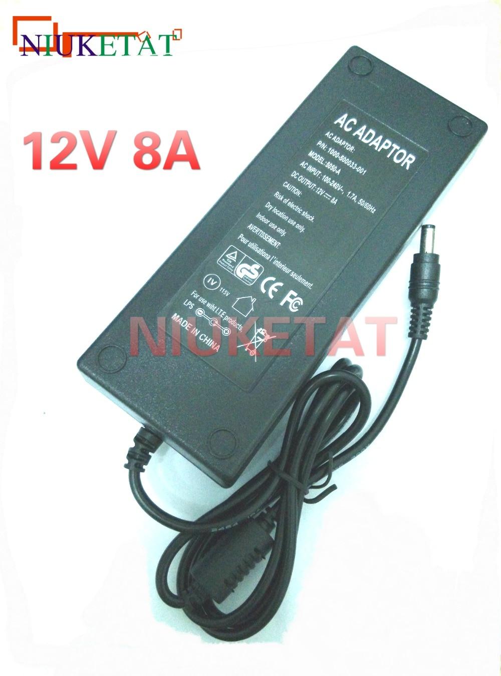DC 12V 8A AC 100-240V 12V8A LED napájecí adaptér LED napájecí zdroj Adaptérový pohon pro RGB LED pásek 5050 3528 2835 Bez vedení