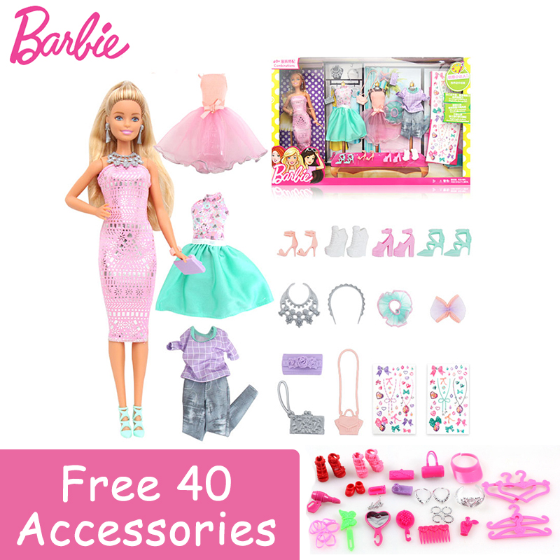 2017 Barbie Authorize Brand DIY Clothes Style Dress Up Baby Toys For Little Girl Christmas Day's Gift Barbie Boneca DVJ64 brand new 1996 hallmark barbie large christmas stocking red sateen & white