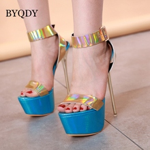 BYQDY Summer Sexy Platform Women Sandals Gladiator Ankle Buckle Strap Ultra High Heel Blue Wedding America Pumps Shoes Size 40