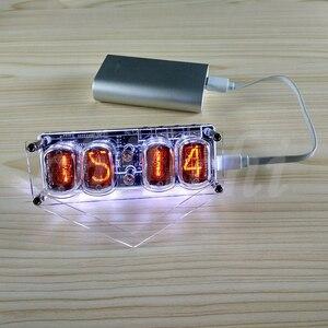 Image 3 - IN 12 Glow Buis Klok 4 bit IN12 gloed buis klok Zeven kleuren RGB LED DS3231 nixie klok IN 12B