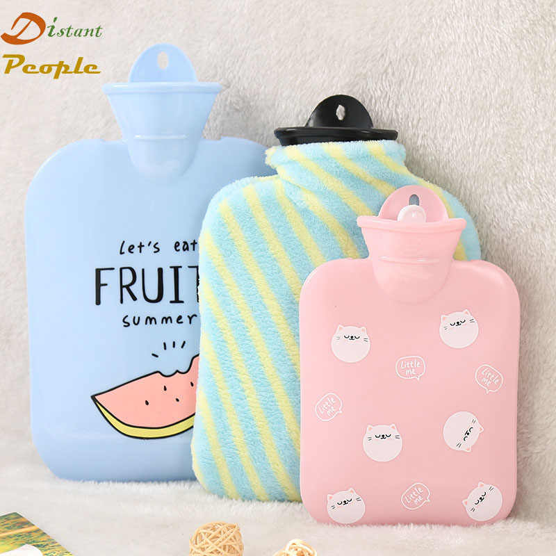 Soft Rubber Hot Water Bottle Cute Cartoon  Hand Warm Water Bag with Flannel Cover Portable Injection Storage Bag Tools