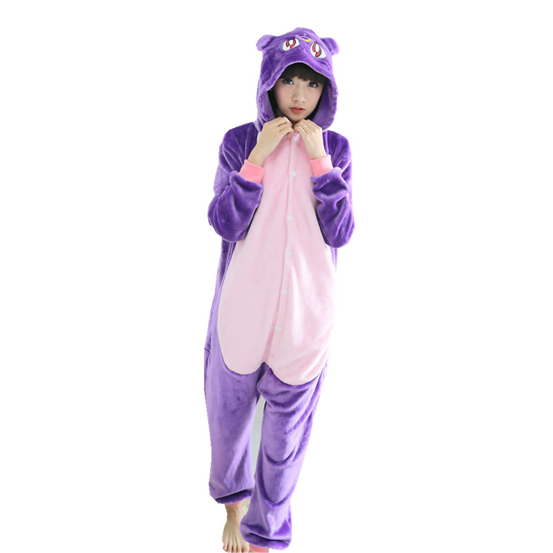 Women Flannel Kigurumi Purple Cat Animal Cosplay Costume Adults Onesies Pajama For Winter