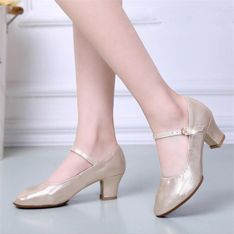 2018 spring new girl shoes Genuine Leather ladies dance shoes modern dance ballroom dance high heels student performance shoes