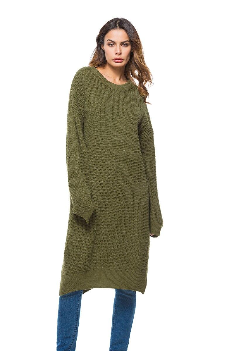 Fall Winter Vintage Mustard Side Slit Crochet Sweater Dress for Women Cute Ladies Retro Cosy Loose Split Pullover One Size 9
