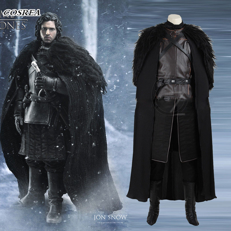 COSERA Game of Thrones costume Jon snow cosplay Costume Fancy  Outfit With Coat Halloween Clothing Men Cosplay Costumes