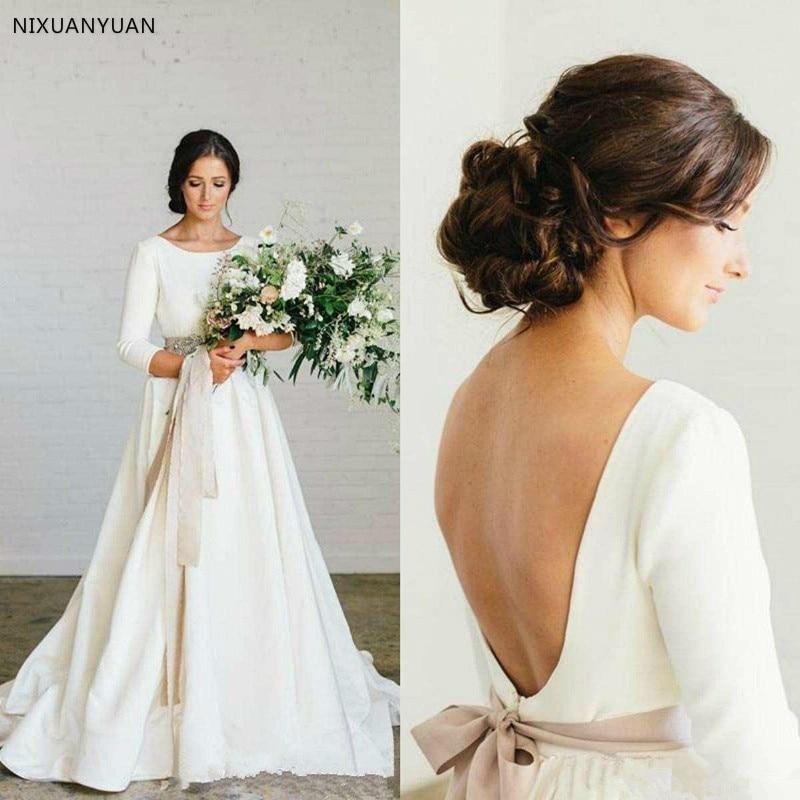 Country Bohemian Satin Wedding Dresses Long Sleeves 2020 Blush Sash Princess Church Vintage Bridal Gowns Vestido De Noiva