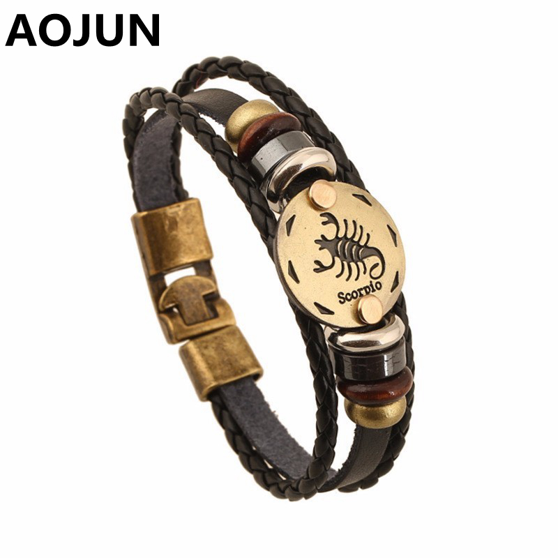 AOJUN 2017 Hot 12 Constellation Men Leather Bracelet Male Female Jewelry Wristband Charm Friendship Bracelets & Bangles 2XL38