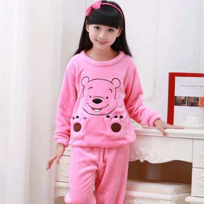 Children Pajamas Autumn Winter Fund Girl Long Sleeve Flannel Coral Down Children's Garment Children Home Furnishing Serve Suit girl pajamas winter thickening increase down korean new pattern lovely cartoon child children home furnishing suit 2 pieces kids