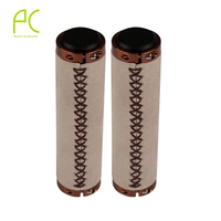 PCycling Ultra Light Cycling MTB Bike Bicycle Handlebar Grips Vintage Retro Leather Bilateral Lock Leather Anti