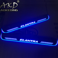 AKD 4PCS Acrylic Moving LED Welcome Pedal Car Scuff Plate Pedal Door Sill Pathway Light For Hyundai Elantra 2015 2016 2017 2018