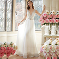 Sexy Deep V-Neck Beach Chiffon Wedding Dresses Lace Wedding Gowns Vintage Bride Dresses Vestido De Noiva 2017 Casamento BB48