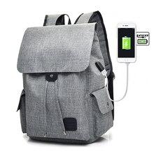 Купить с кэшбэком Large Capacity Canvas Shoulder Bags Unisex Solid USB Charging 15.6 inch Laptop Backpack Women & Men High Quality Travel Bags