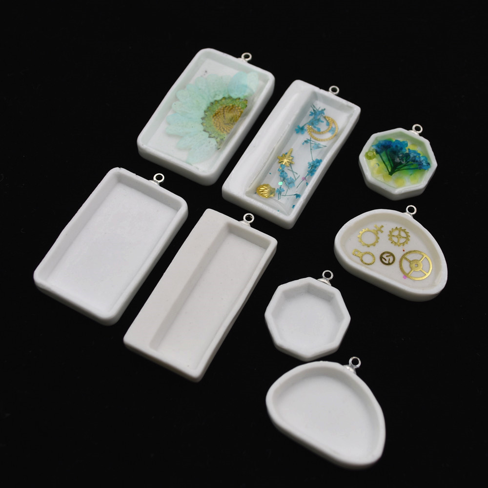 Pendants ceramics frame jewelry findings Handmade Craft Floating locket Rectangle can be filled by UV glue