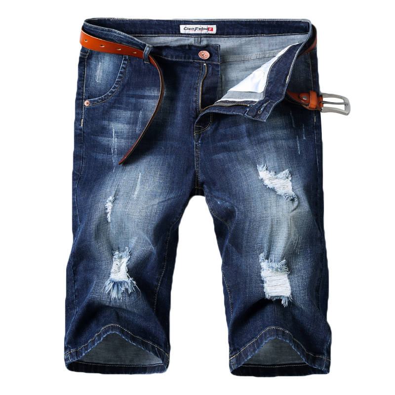Denim Shorts Jeans Elastic Men's New-Style Casual Summer Cotton Brand Blue Thin Slim-Fit