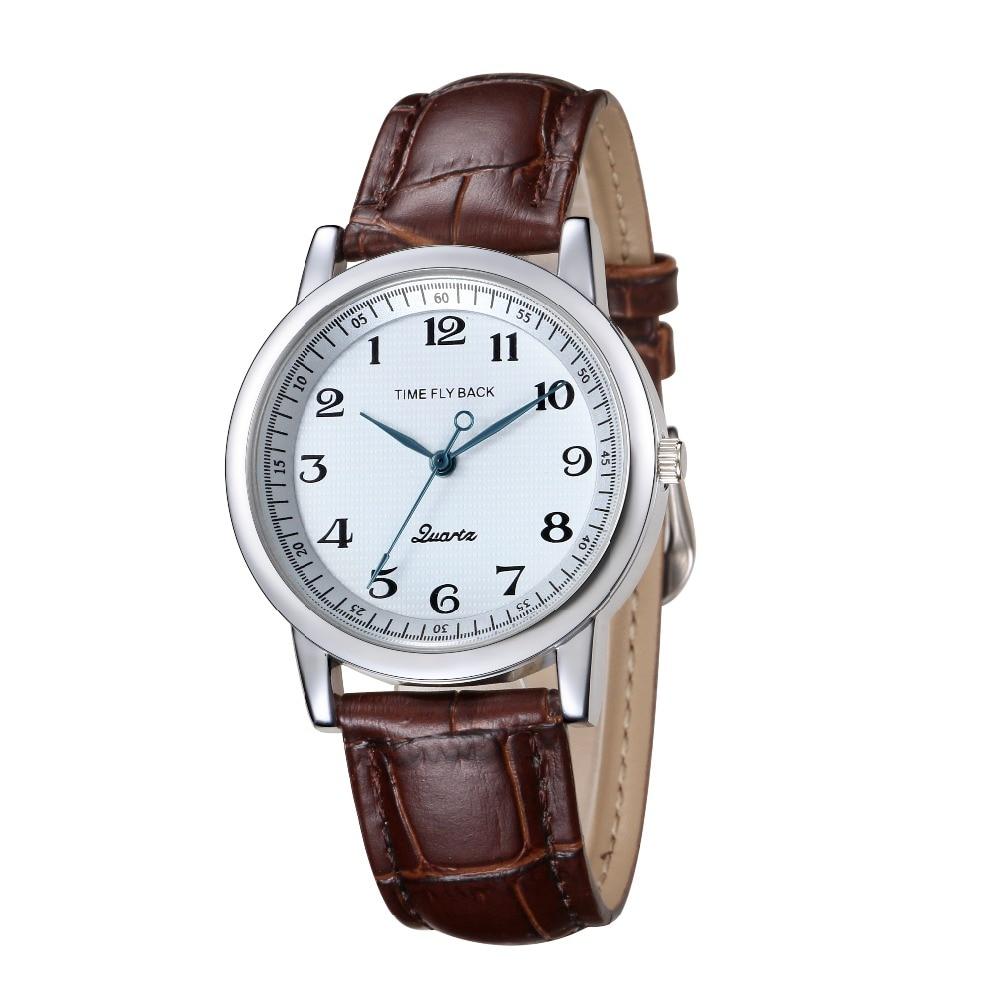 f82aa2cfb6a 2018 Relógio de Tempo da História No Sentido Contrário Clássico dos homens  Relógios de Quartzo Relógio