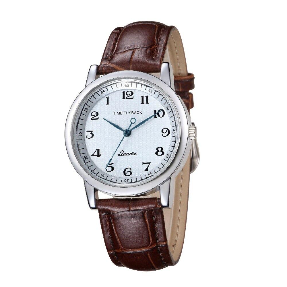 2018 Для мужчин смотреть время история против часовой стрелки классические модные Бизнес кварцевые часы ремень из натуральной кожи часы Для Мужчин's Водонепроницаемый
