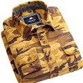 Los hombres de camuflaje ocasional camisa 100% de Algodón de Manga Larga Verde Del Ejército Del Mens Camisas de Vestir Ropa de Camuflaje Militar 59