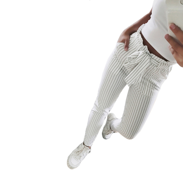 2019 New Striped OL chiffon high waist harem pants women stringyselvedge summer style casual pants female trousers
