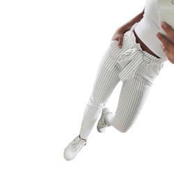 Новинка 2018 года в полоску OL шифон Высокая талия шаровары для женщин stringyselvedge летний Стиль повседневные штаны женские брюки
