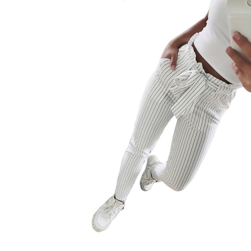 2018 nuevo rayas OL gasa de alta cintura pantalones de harén de las mujeres stringyselvedge estilo de verano Pantalones casuales Pantalones Mujer