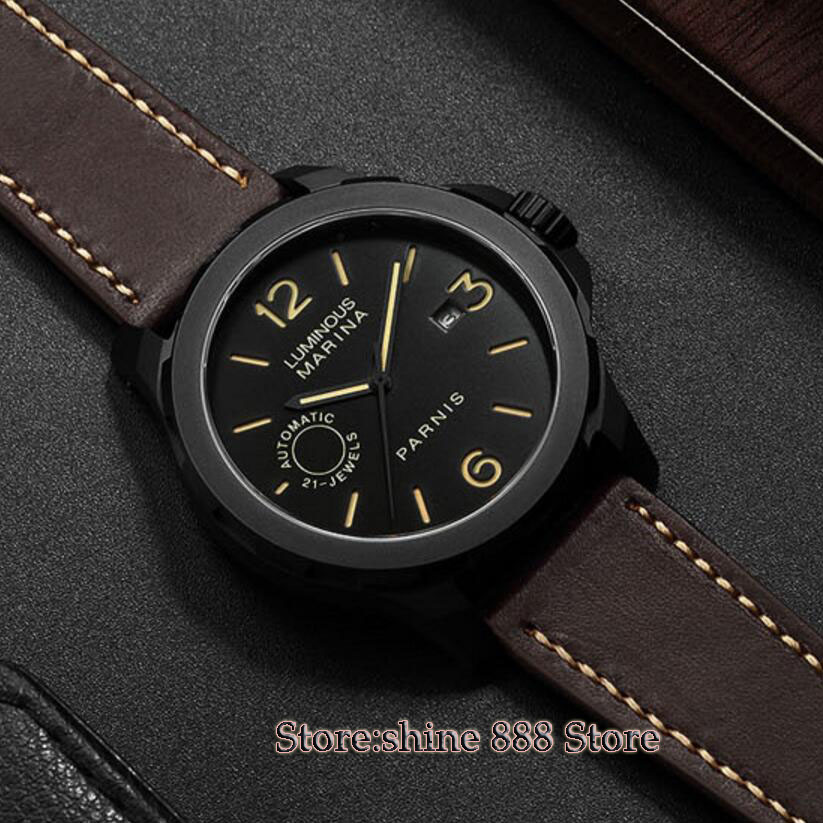 43mm Parnis black dial PVD Sapphire Glass 21 jewels miyato Automatic mens Watch