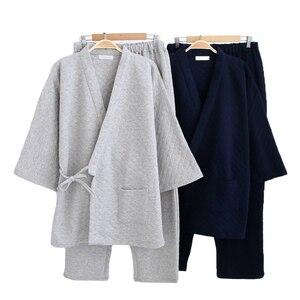 2 sztuk koszula i spodnie ustawić na co dzień mężczyźni piżamy garnitur zima nowy dom odzieży męskiej bawełna bielizna nocna japoński styl bielizna nocna piżamy